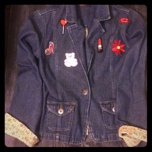 denim jacket with floral lining, feminine patches